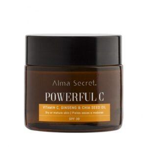 Crema powerful C antiedad piel seca o madura iluminadora con vitamina C ginseng y chía SPF 30 Alma Secret