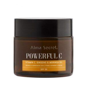 Crema powerful C antiedad iluminadora con vitamina C ginseng y moringa pieles normales o mixtas SPF 30 Alma Secret
