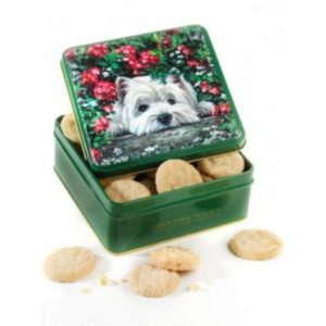 Caja lata de galletas de mantequilla y nata Perrito Scottie 100 grs Grandma Wild´s