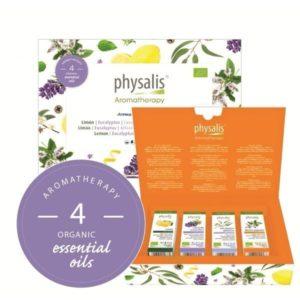 Aroma experience kit 4 aceites esenciales Eucalipto lavanda limón menta piperita Physalis