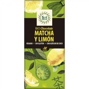 Chocolate bio con té matcha y limón 70 grs Sol Natural