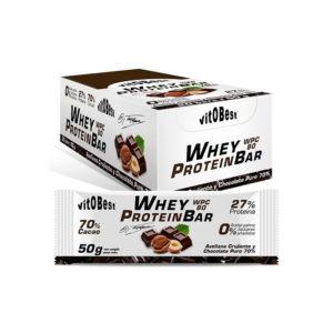 Barrita Whey Protein Bar sabor chocolate puro y avellana 50 grs (by Torreblanca) vitOBest