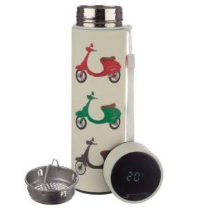 Botella Termo de Acero Inoxidable con Termómetro y filtro para infusiones moto vespa 500 ml Puckator