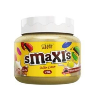 Crema para untar proteica sabor Smaxis White sabor chocolate blanco con choco buttons 250 grs Max Protein